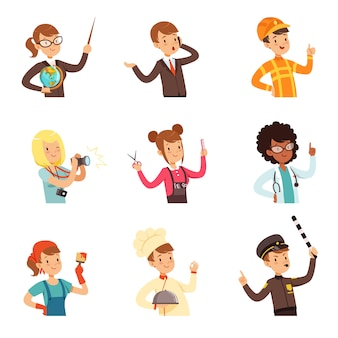 Junge männer und frauen verschiedener berufe stellten ein, die avatare der menschen sammeln bunte illustrationen auf einem weißen hintergrund
