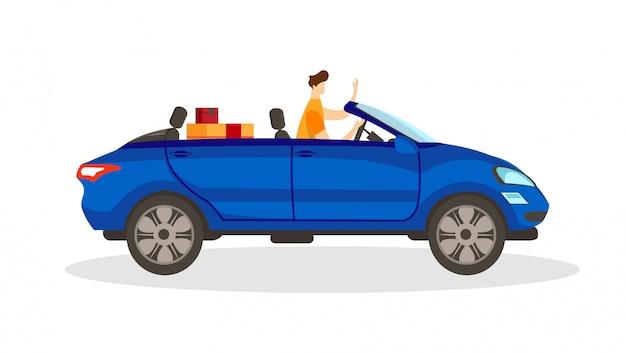 Junge männliche figur, die blaues cabrioauto fährt.