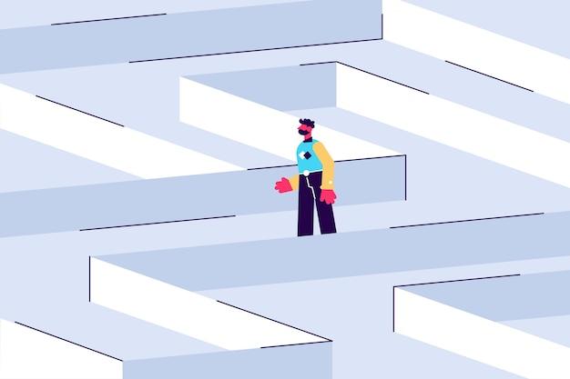 Junge männliche figur in einem labyrinth strategisches denken und fehlerbehebung geschäftskonzept