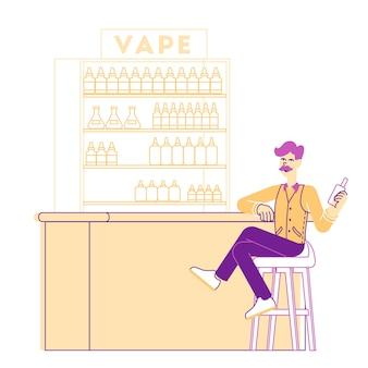 Junge männliche hipster-figur, die lässiges anziehen trägt, das auf hohem hocker sitzt