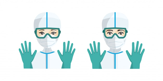 Junge männliche und weibliche ärzte mit hygienischem schutz vor krankheit.