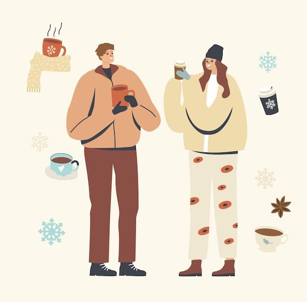 Junge männliche und weibliche charaktere in warmen kleidern, die winterkaffee im freien genießen