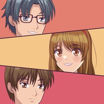 Junge manga gesichter cartoons