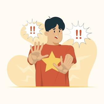 Junge mann angst angst angst stop schock panik konzept