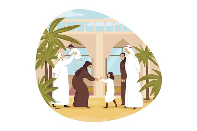 Junge mann arabischer ehemann muslimische frau frau, die kinder kinder sohn tochter zu oma und großvater gibt