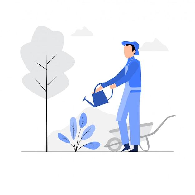 Junge mann, die pflanzen im gartenschlauch mit streusel gießen