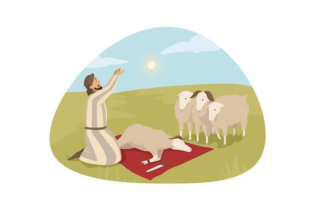 Junge mann kerl hirten zeichentrickfigur, die zu gott betet, bereit, schiffslamm als opfer für herrn zu töten.