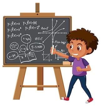 Junge mathematische formel an tafel schreiben