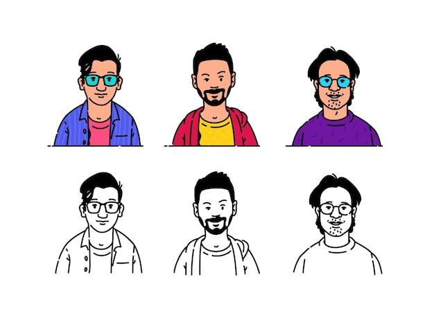 Junge menschen avatare im minimalistischen stil botaniker geeks und hipsets markenzeichen für das logo