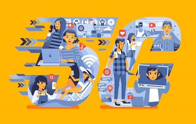 Junge menschen, die die 5g-netzwerktechnologie für ihre bedürfnisse nutzen, z. b. videoanruf, internetzugang, hochladen von videos, flache illustration in sozialen medien