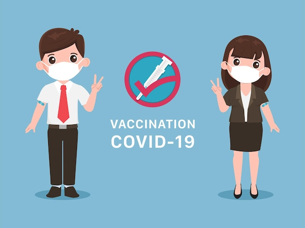 Junge menschen erhalten einen covid19-impfstoff, der vor viren geschützt ist