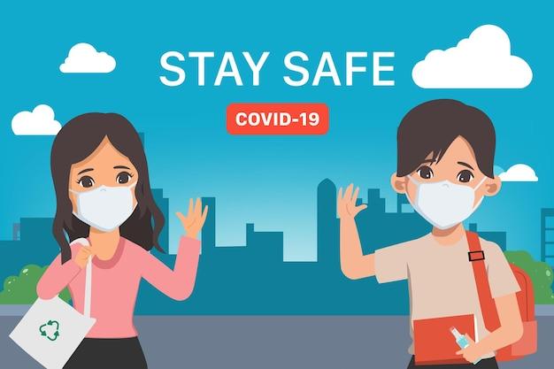 Junge menschen halten soziale distanzierung ein stoppen sie das covid19-coronavirus