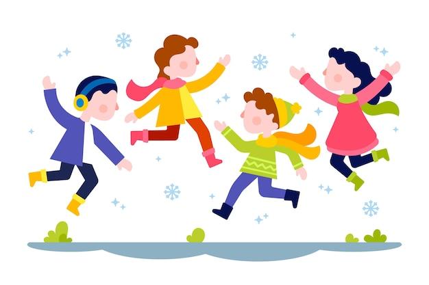 Junge menschen tragen winterkleidung springen