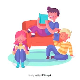 Junge menschen verbringen zeit miteinander zu lesen