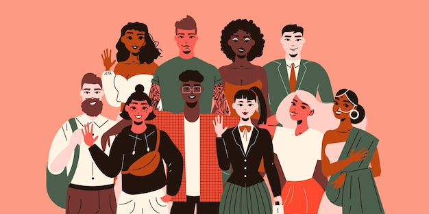 Junge menschen verschiedener ethnien machen friedliche gesten