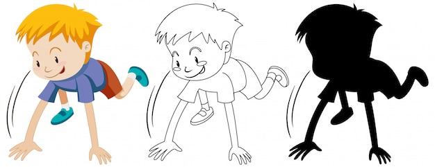 Junge mit betriebsbereiter position in farbe und in umriss und silhouette