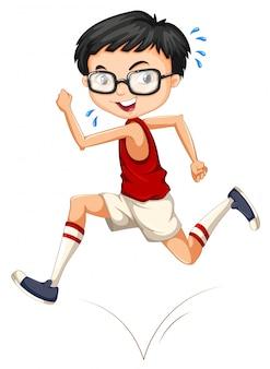 Junge mit brille läuft