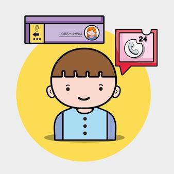 Junge mit chat-blase soziale nachricht