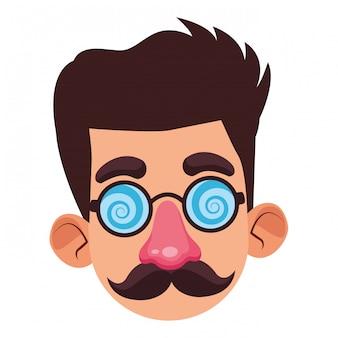 Junge mit einem maskenprofil avatar verkleidet