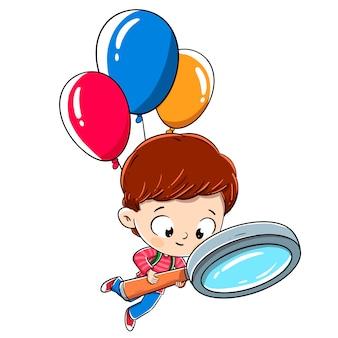 Junge mit einer lupe, die mit ballonen fliegt