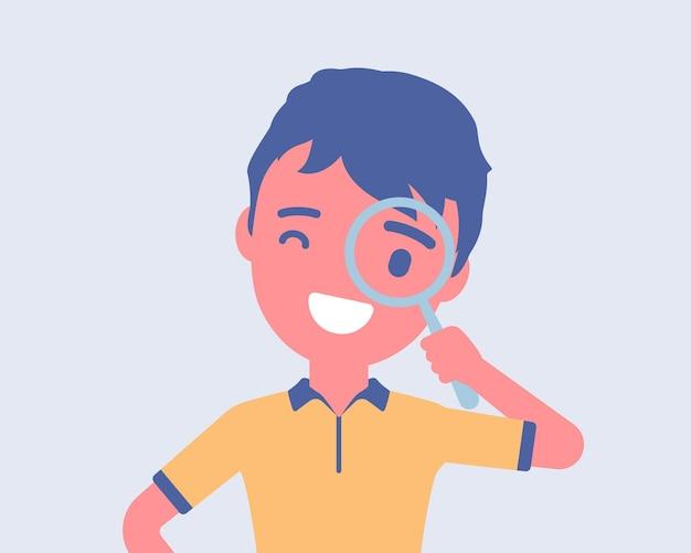 Junge mit einer lupe