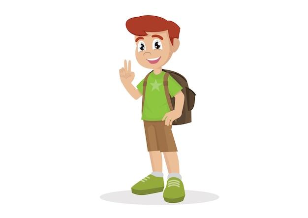 Junge mit einer schulranzenshow zwei finger als v-zeichen.