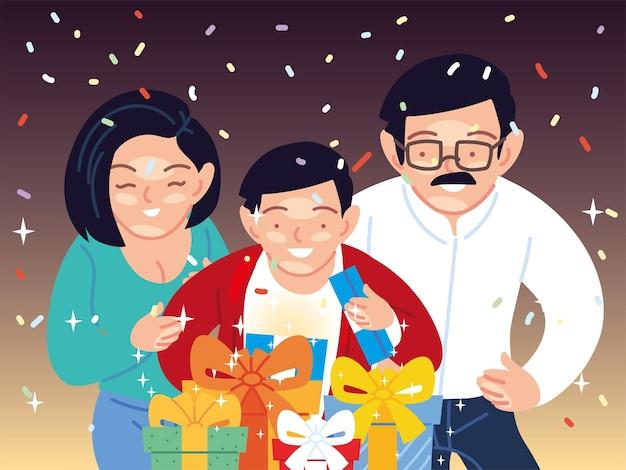 Junge mit elternkarikaturen, die geschenke öffnen, alles- gute zum geburtstagfeier-dekorationsparty festlich und überraschungsthemaillustration