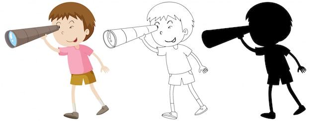 Junge mit fernglas in farbe und umriss und silhouette