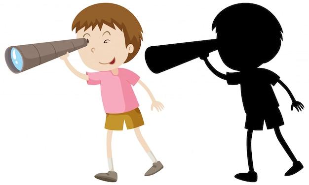Junge mit fernglas mit seiner silhouette