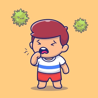 Junge mit fieber und grippe-symbol-illustration. corona maskottchen zeichentrickfiguren. personensymbol-konzept isoliert