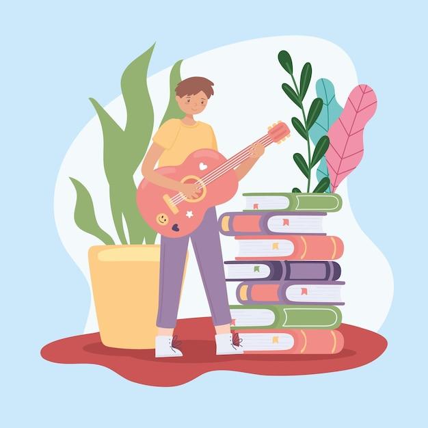 Junge mit gitarre und büchern