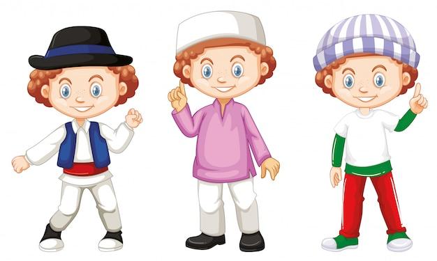 Junge mit glücklichem gesicht in verschiedenen kostümen