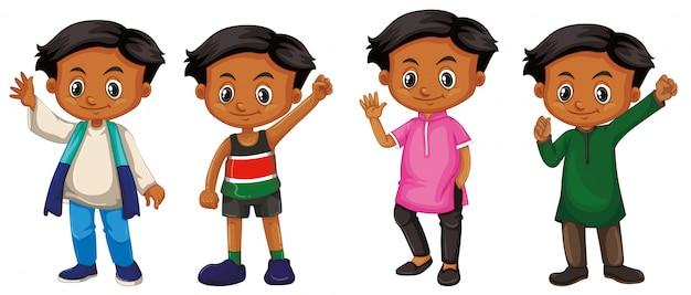 Junge mit glücklichem gesicht in vier verschiedenen kostümen