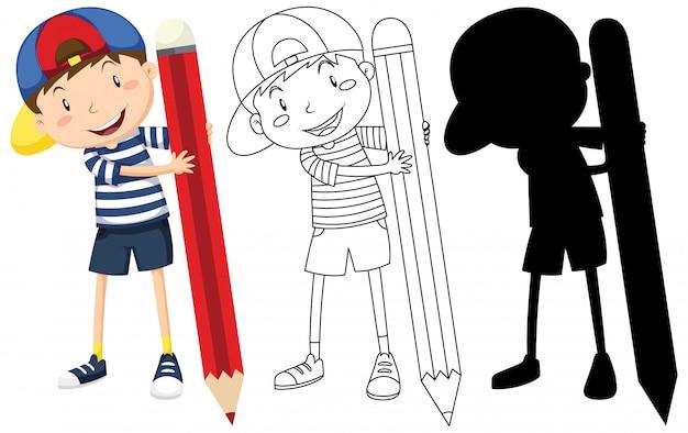 Junge mit großem bleistift in farbe und umriss und silhouette