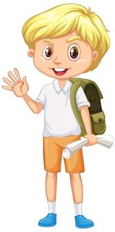 Junge mit grünem rucksackgruß auf weiß
