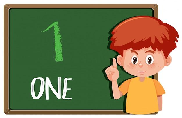 Junge mit handzeichen nummer