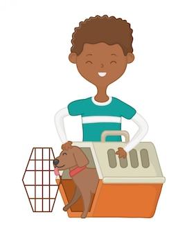 Junge mit hund der karikatur