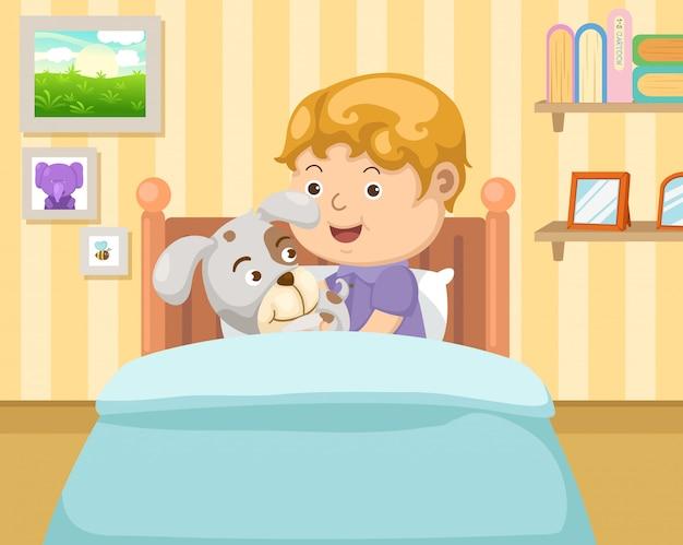 Junge mit hund im schlafzimmer