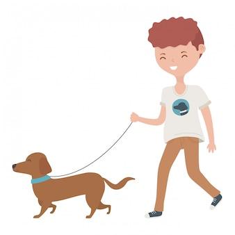 Junge mit hundekarikatur