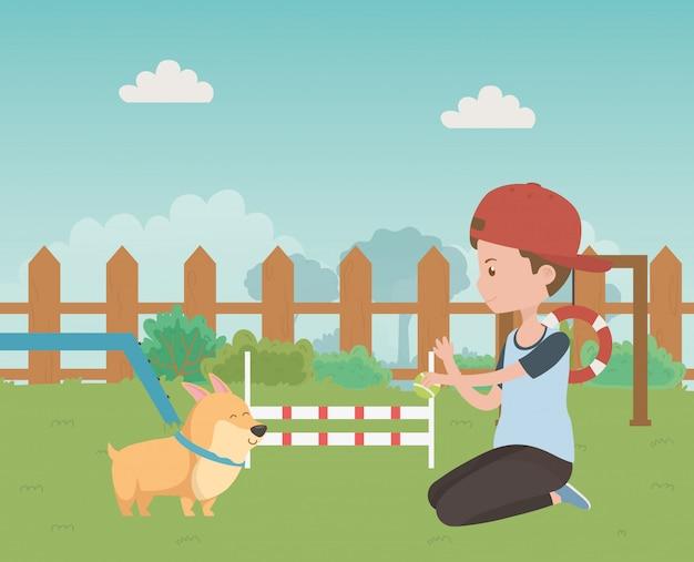 Junge mit hundekarikaturdesign