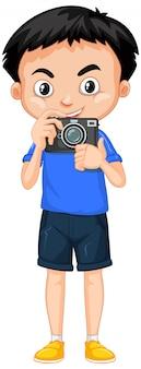 Junge mit kamera auf weiß