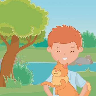 Junge mit katzenkarikaturdesign