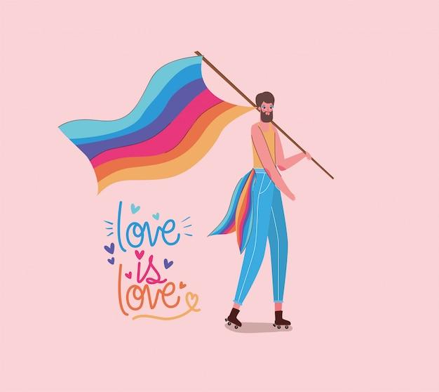 Junge mit kostüm lgtbi flagge und liebe ist liebe