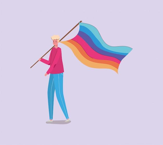 Junge mit kostüm und lgtbi flagge