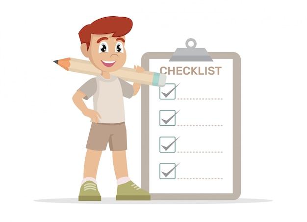 Junge mit markierter checkliste.