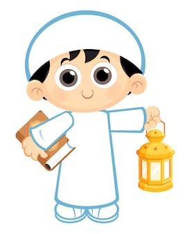 Junge mit ramadan-laterne