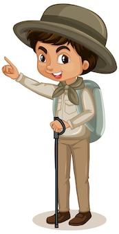 Junge mit rucksack
