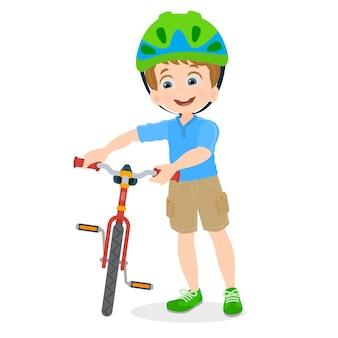 Junge mit seinem fahrrad
