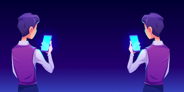 Junge mit smartphone-app rückansicht