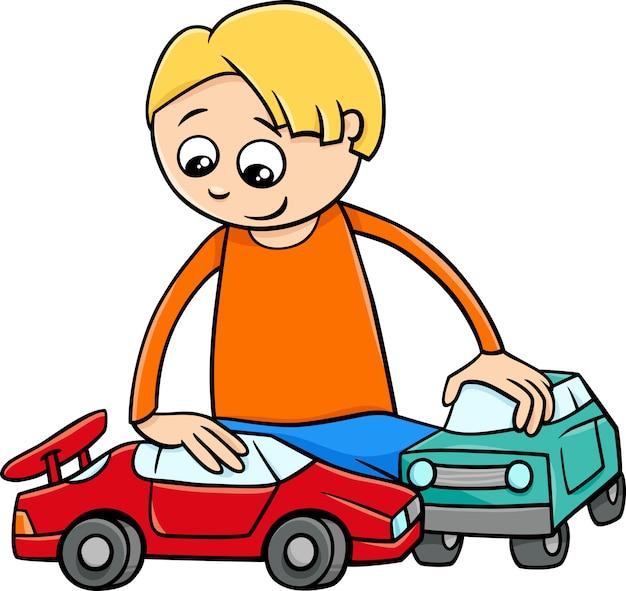 Junge mit spielzeugautokarikatur